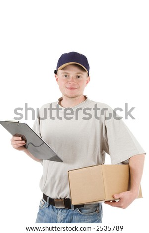 a young friendly man with a parcel and a clipboard