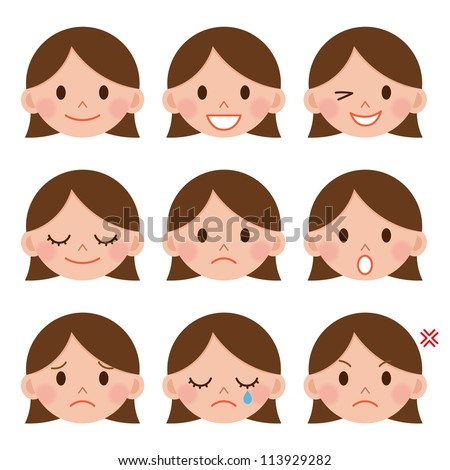 A young girl emotions - joy, sadness, hurt, shock, joy, inspiration - stock photo