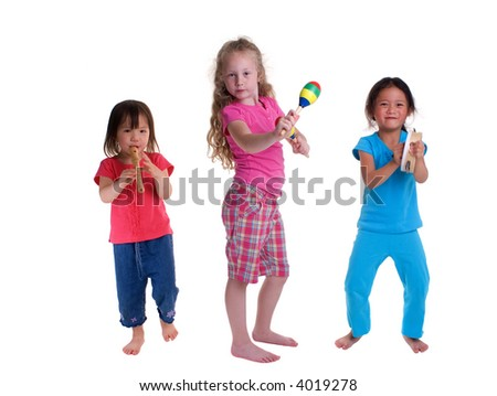 A young girl growing up. Childhood, learning, exploration, music. - stock photo