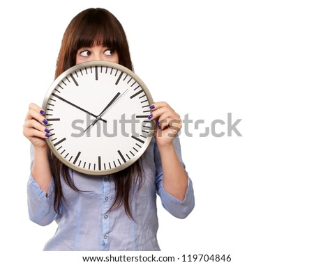 A Young Girl Holding A Clock On white Background - stock photo