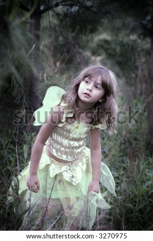 A young girl in a fairy costume walking in a forest, soft-focus and vignetting on the edges, slight color desaturation - stock photo
