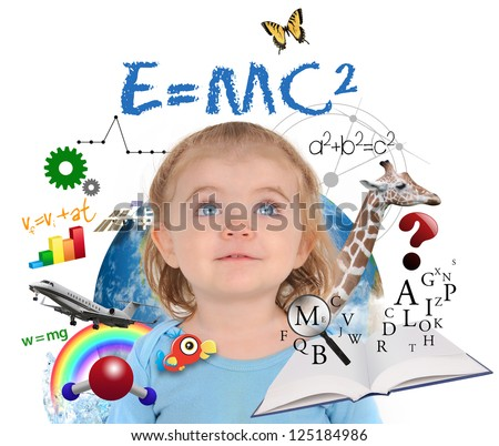 A young girl is looking up at different science, math and physics icons around her on a white background. Use it for a school or learning concept. - stock photo