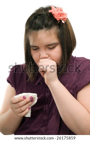A young girl is sick and is coughing, isolated against a white background