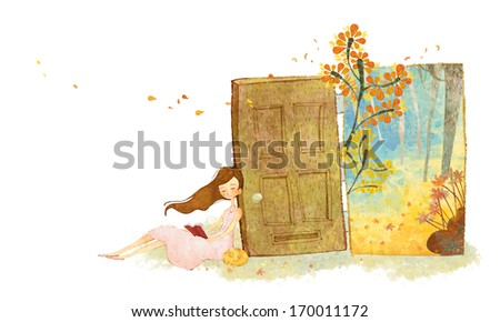 A young girl leans against an open door, revealing flowers in a wooded area. - stock photo