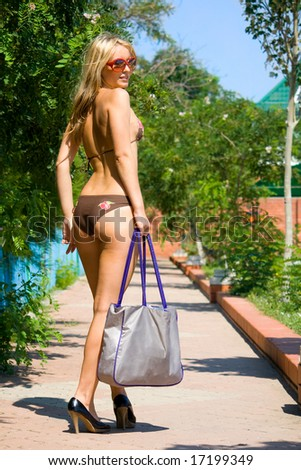 a young girl on the sea resort - stock photo
