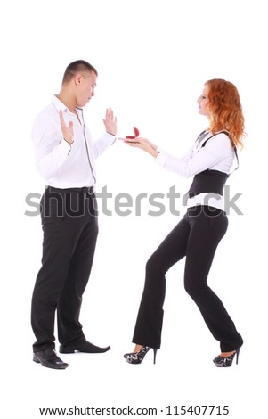 Young Girl Proposing Man Ring Isolated Stock Photo 115407715
