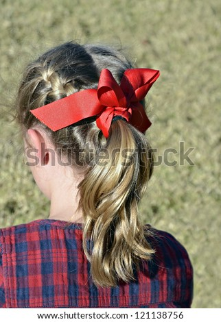A young girl's hair pulled back into a stylish ponytail.