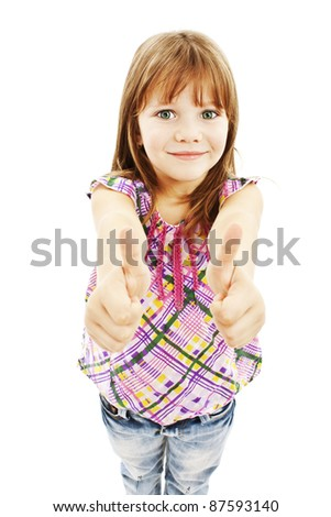 A young girl showing thumbs up with both hands over white background - stock photo