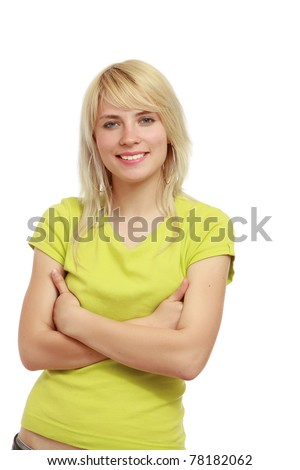 A young girl standing - stock photo