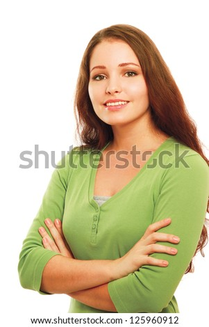 A young girl standing, isolated on white background - stock photo