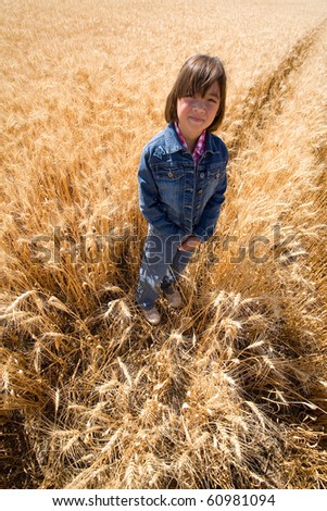 A young girl stands in a wheat field that is ready for harvest. - stock photo