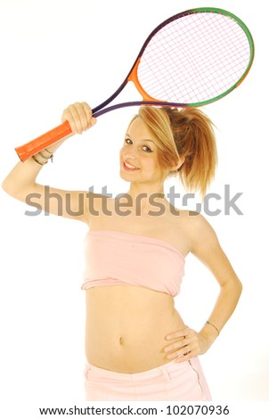A young girl with her tennis racket 134 - stock photo