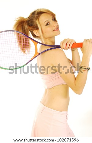 A young girl with her tennis racket 174 - stock photo