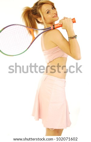 A young girl with her tennis racket 172 - stock photo