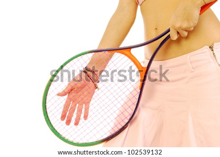 A young girl with her tennis racket 170 - stock photo