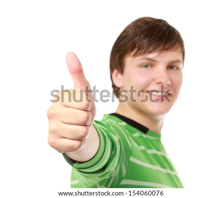A young guy showing ok , isolated on white background - stock photo