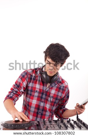 A young handsome deejay boy - isolated over white - stock photo