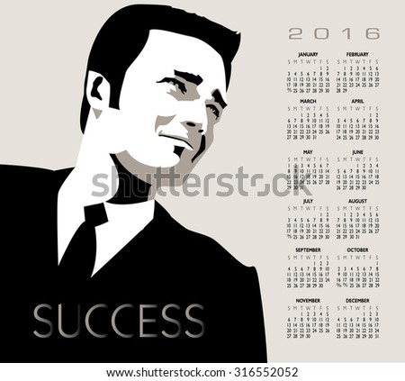 A young, handsome, successful businessman in this 2016 calendar - stock photo