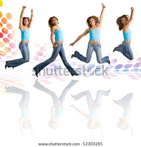 A young Hispanic woman in her early twenties jumping in the air in four different poses over an audio waveform backdrop with reflections. - stock photo