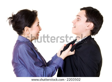 A young lady really disagree with that man - stock photo