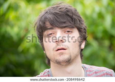 A young male model just woke up - stock photo