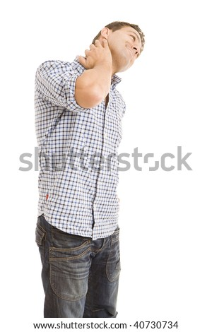 a young man complaining of pain in his neck - stock photo