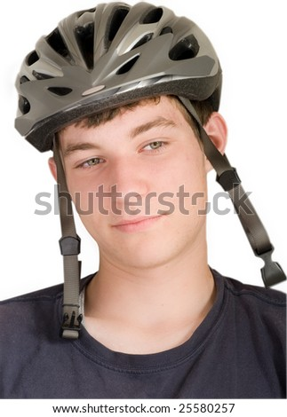 a young man in a bike helmet isolated on white - stock photo