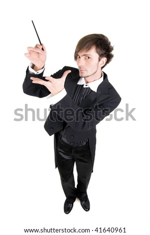 A young man in a black tailcoat is showing his stick, top view, isolated. - stock photo