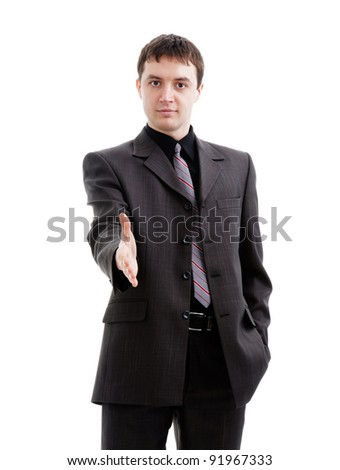 A young man in a suit, hello,isolated on a white background.