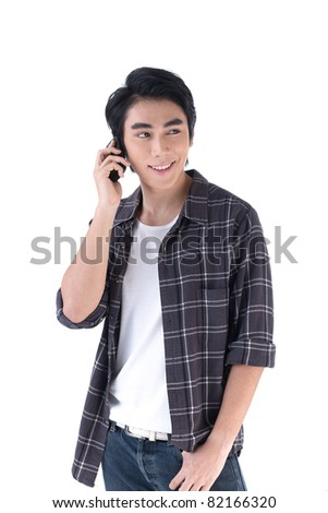 A young man in relax style talking on the phone - stock photo