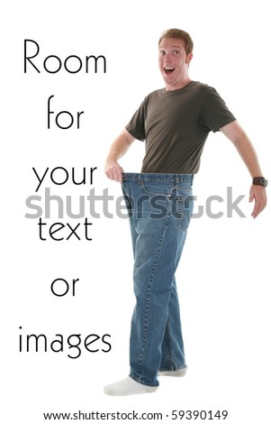 a young man is excited about his weight loss, isolated on white - stock photo
