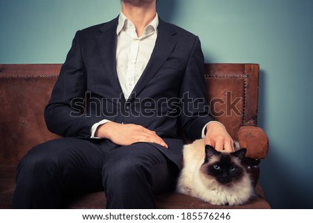 man with cat stock photos images  pictures  shutterstock
