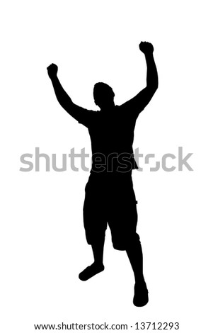 A young man joyously throws his hands up in the air.  This includes the clipping path. - stock photo