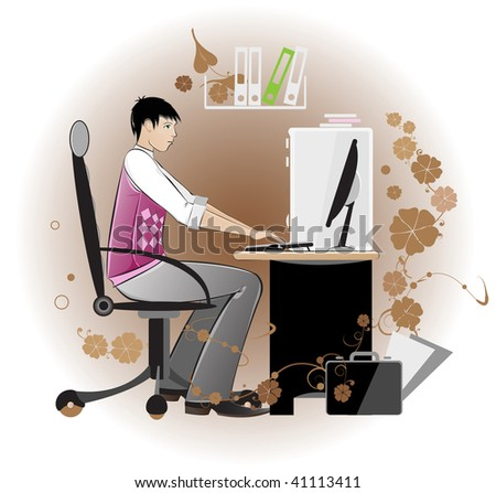 A young man works on a computer. Bright illustration