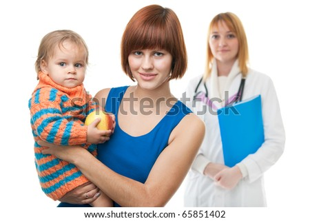 A young mother is holding her daughter with an apple in front of a doctor figure; isolated on the white background