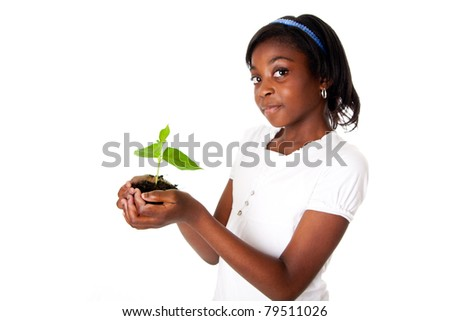 A young new plant growing from palm in hands of beautiful African girl, isolated. Drought on Earth concept. - stock photo