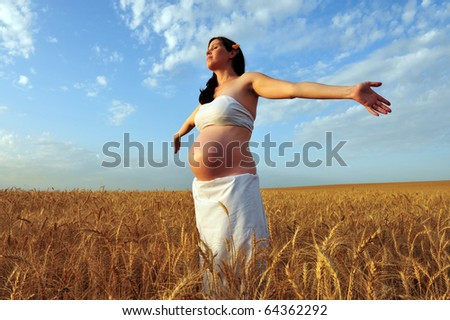 A young pregnant woman in a wheat field.Concept photo of pregnancy, pregnant woman, newborn and baby.