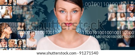 A young pretty woman against world map on background with many different people's faces. Can represent a technology social network of friends and communication. - stock photo