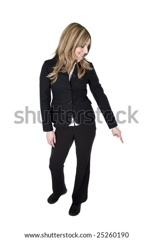 A young professional woman pointing her finger isolated on white - stock photo