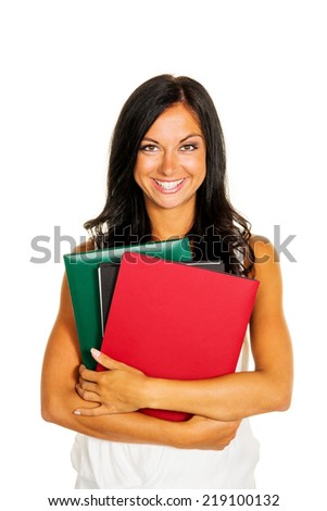 a young student with folders in hands.