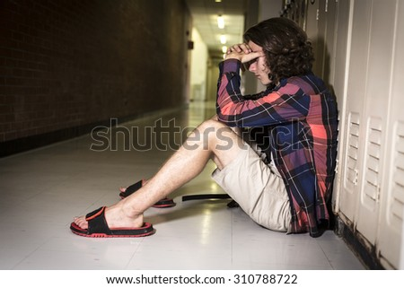 A Young teen student at the college - stock photo