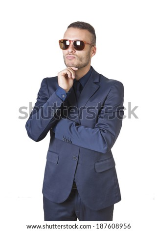 a young thinking elegant businessman isolated on a white background