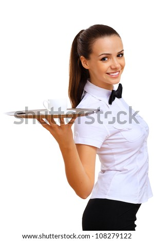 A young waitress in a white blouse with a tray in his hand - stock photo