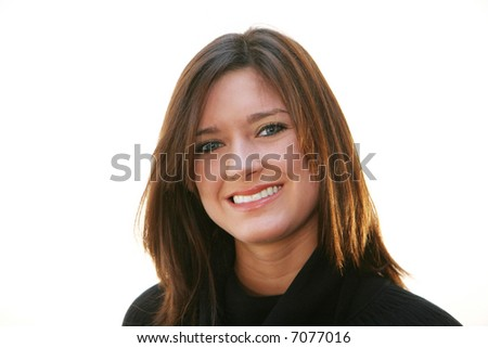 A young woman against a white background