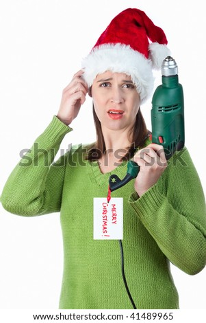A young woman disappointed with a Christmas gift on white. - stock photo
