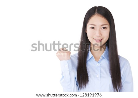 A young woman had a guts pose - stock photo
