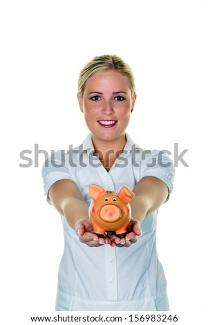 a young woman holding a piggy bank. save icon and future photo - stock photo