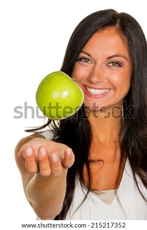 a young woman holding an apple in his hand. fruits and vegetables for healthy and vitamin rich diet - stock photo