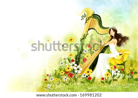 A young woman playing a harp in a field of flowers. - stock photo