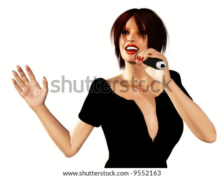 A young woman singing with a microphone in her hand. - stock photo